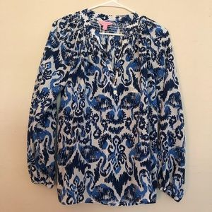 Lilly Pulitzer Blue/White Elsa Blouse Size XS